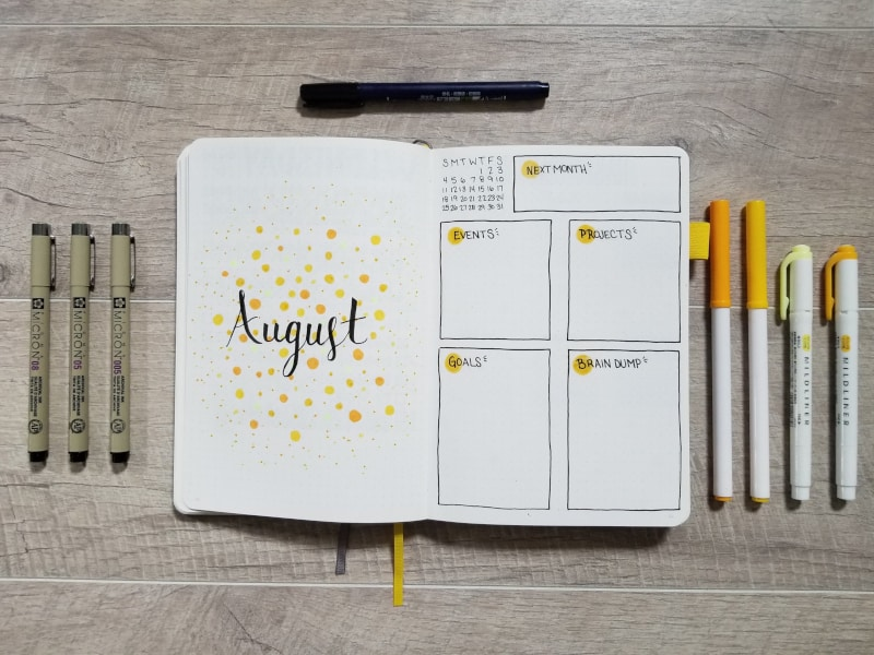 August Bullet Journal Monthly Layout - Yellow Dots