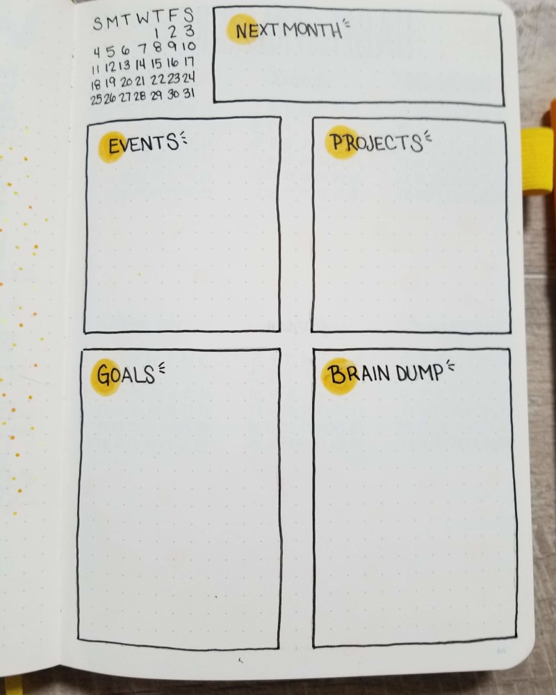 August Bullet Journal Monthly Spread