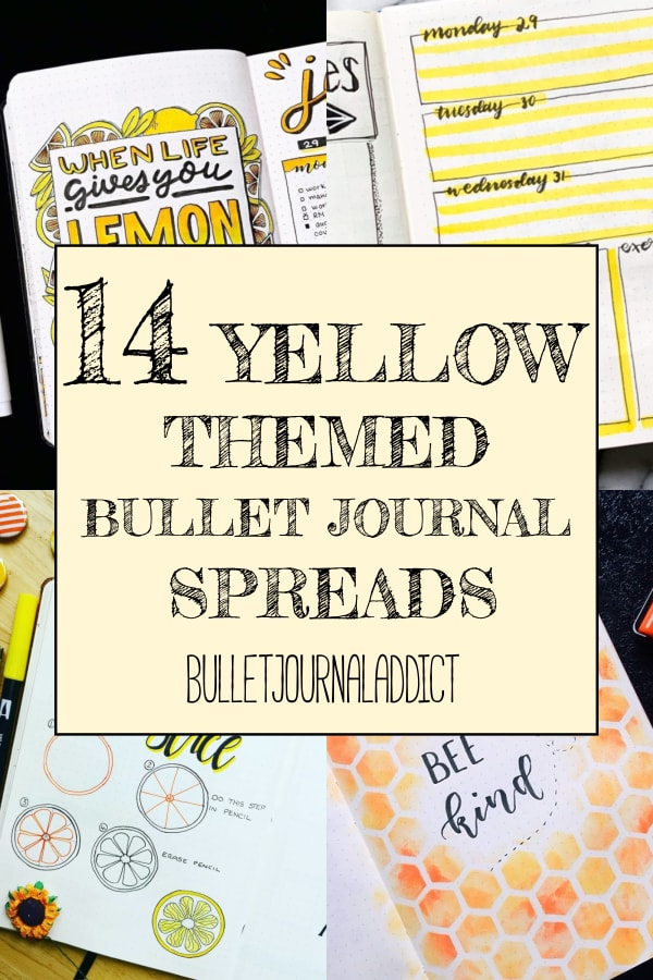 14 Yellow Themed Bullet Journal Spreads
