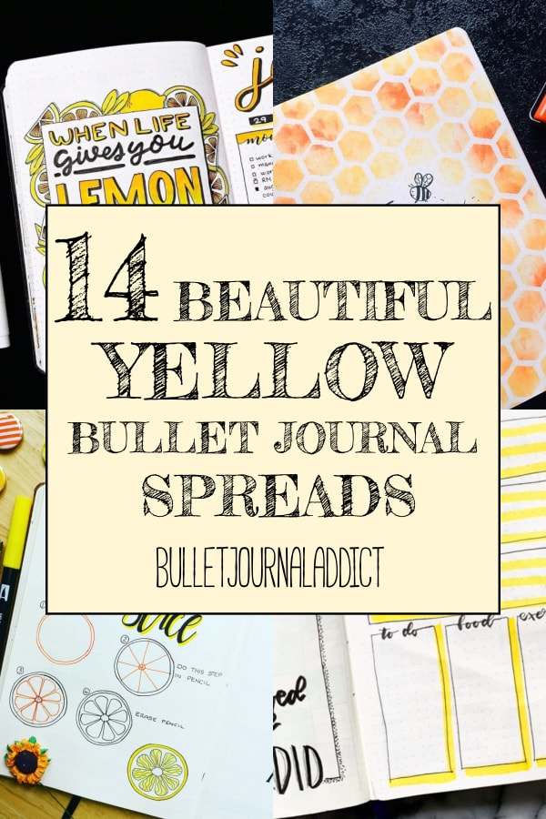 14 Beautiful Yellow Bullet Journal Spreads