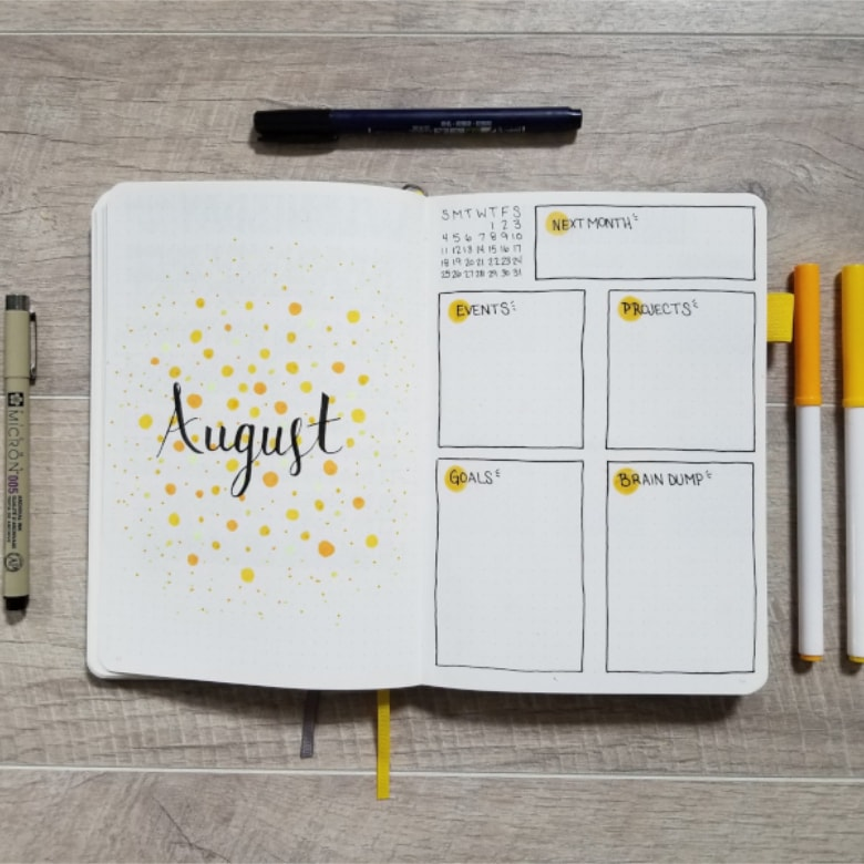 Bullet Journal Yellow Theme Ideas