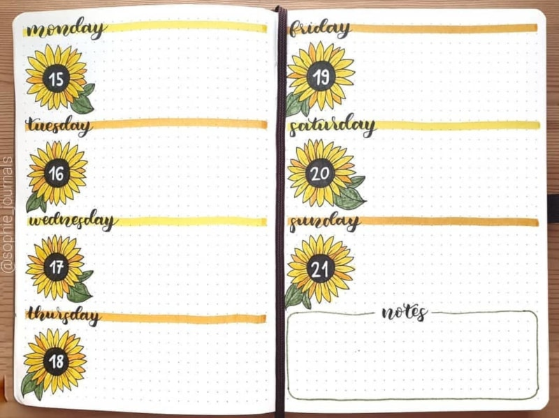 Sunflower Weekly Spread