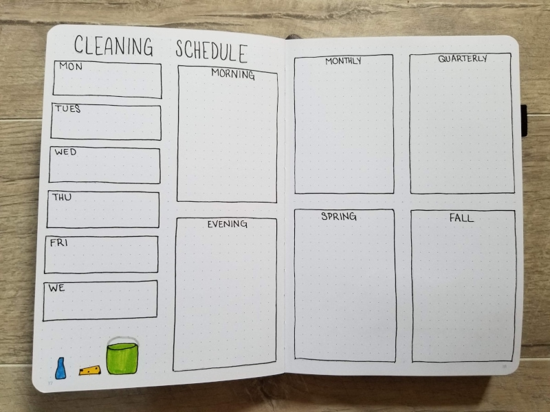 Bullet Journal Cleaning Schedule
