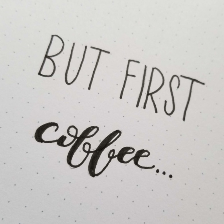 Bullet Journal Cover Page With Quote For January 2020 Coffee Theme