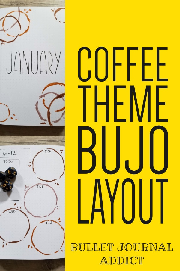 Bullet Journal Monthly Theme For Coffee - Coffee Bullet Journal Theme and Layout - January 2020 Bullet Journal Coffee Theme Spreads