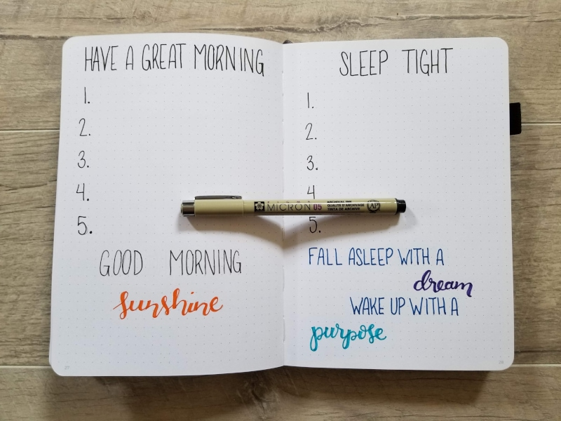 Bullet Journal Morning And Evening Routine Pages