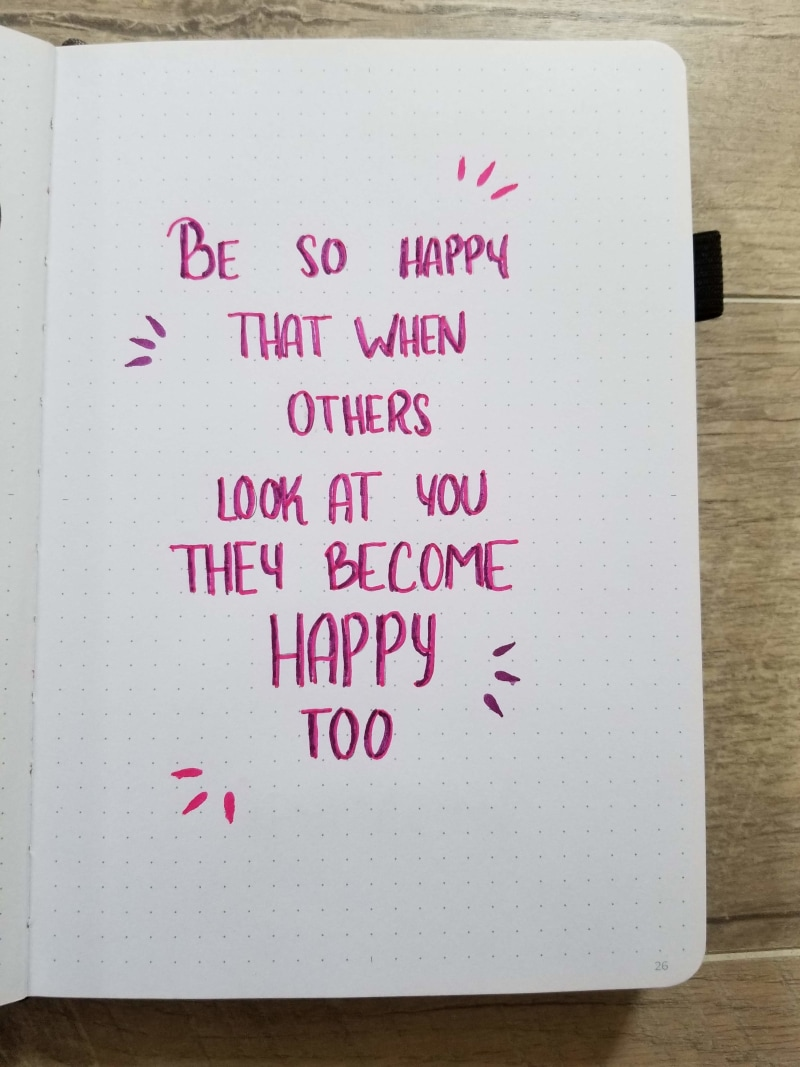 Bullet Journal Quote Page Be So Happy That When Others Look At You They Become Happy Too