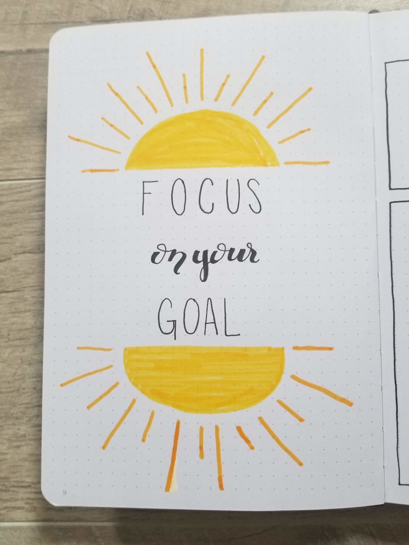 Bullet Journal Quote Page Focus On Your Goal