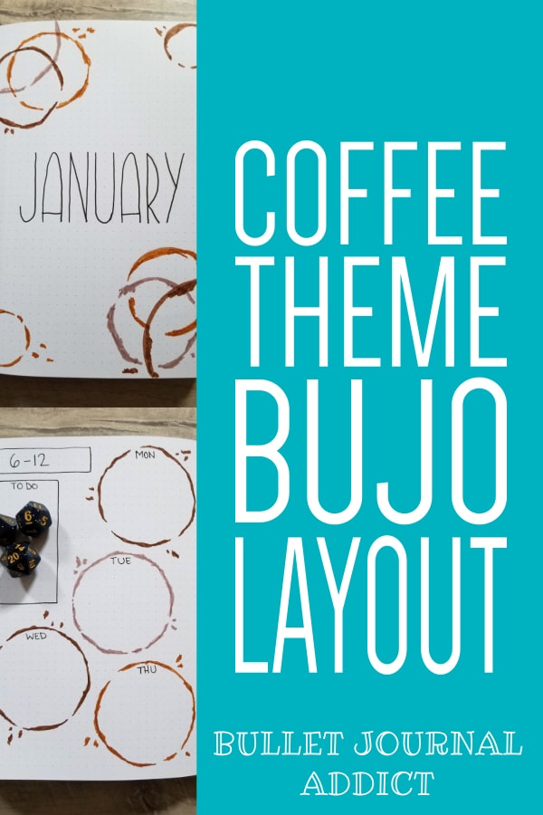 January 2020 Bullet Journal Coffee Theme Spreads - Bullet Journal Monthly Theme For Coffee - Coffee Bullet Journal Theme and Layout