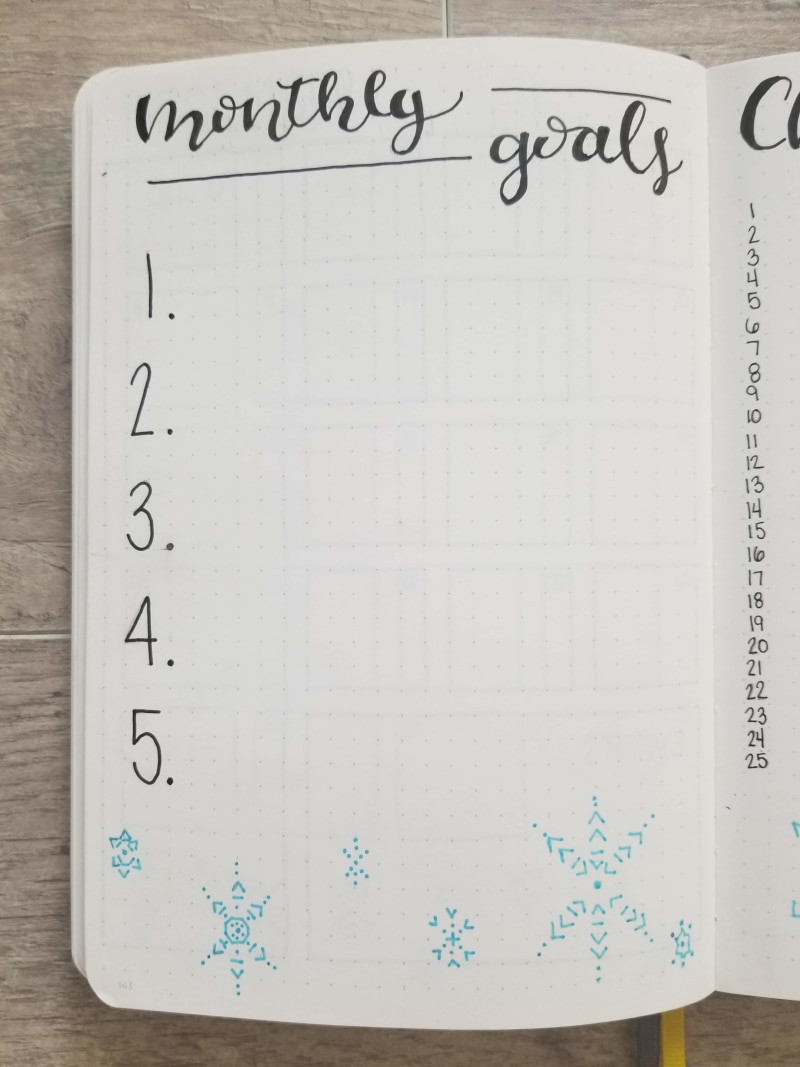 Monthly Goals page with hand drawn snowflakes on the bottom