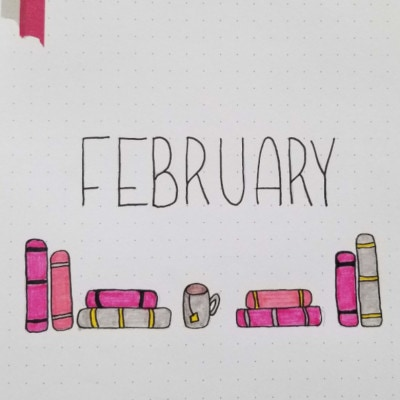 February 2020 Bullet Journal Layout and Setup - Book Theme