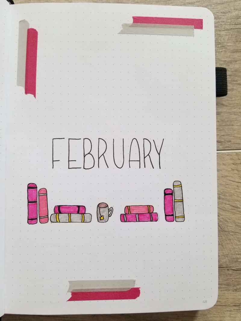 February Bullet Journal Cover Page With Book Theme
