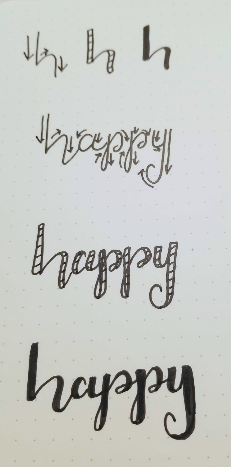 How to write happy with micron fineliner in brush lettering