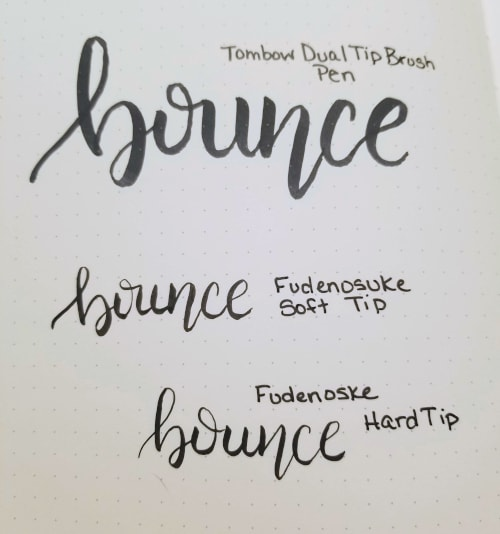 bounce lettering examples with tombow brush pens
