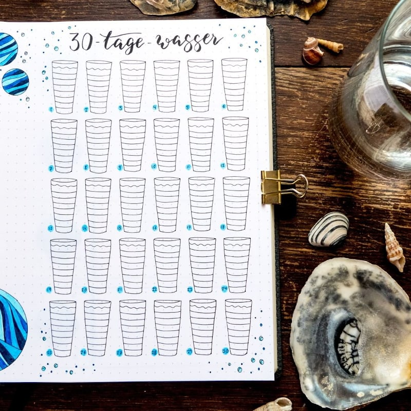 Bullet Journal Water Tracker by bulletjournal_by_ladieslounge