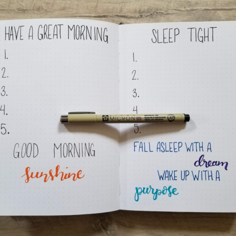 Ideal Day Spreads For Bullet Journal