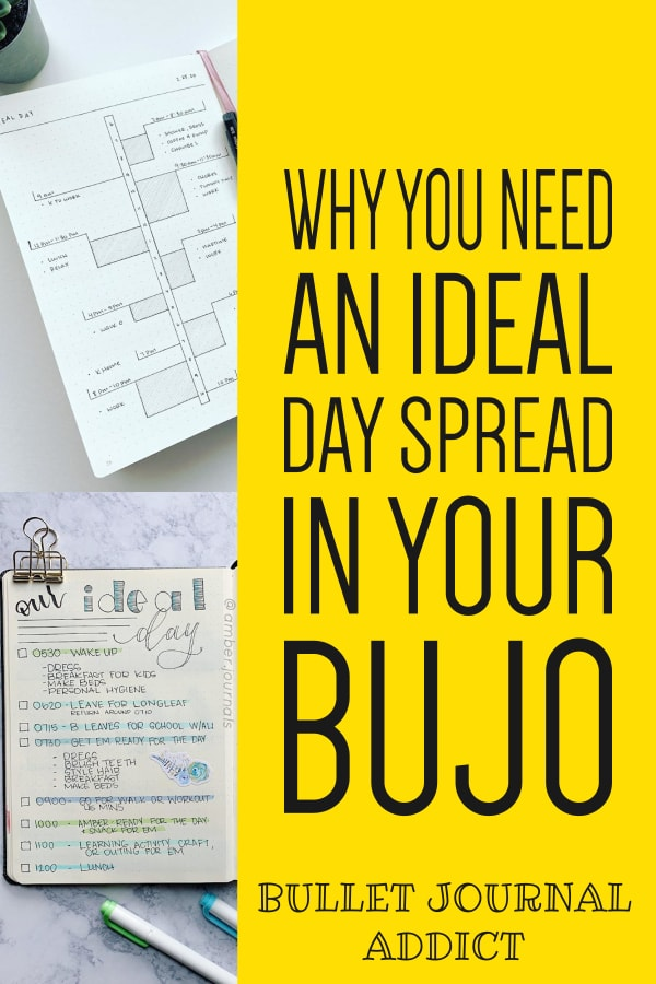 Ideal Day Spreads For Bullet Journals - Bullet Journal Spreads and Collection Ideas - Bullet Journal Productivity and Time Management